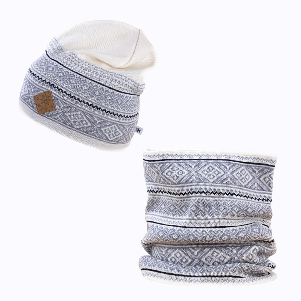 Set - pletená čepice KAMA A101 + nákrčník S19. 101 přírodně bílá ec2c3f8f05